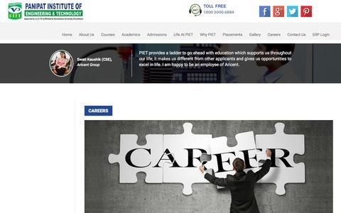 Screenshot of Jobs Page piet.co.in - Careers | PIET - captured Aug. 31, 2016