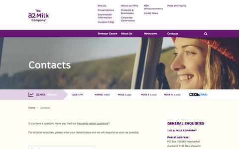 Screenshot of Contact Page thea2milkcompany.com - The a2 Milk Company™| a2 Milk™| contacts - captured Nov. 2, 2014