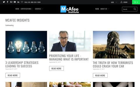 McAfee Insights - The Industry's Premier Investigative Resources - McAfee Institute