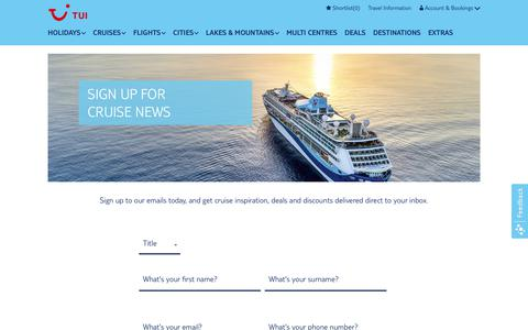 Screenshot of Signup Page tui.co.uk - Sign Up for Cruise News | Marella Cruises - captured Sept. 21, 2018