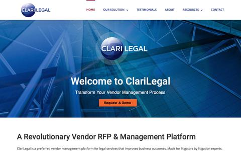 Screenshot of Home Page clarilegal.com - Scope, Procure & Manage - ClariLegal - captured July 18, 2018