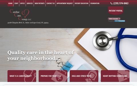 Screenshot of Home Page flccg.com - Cardiac Care Group, LLC - Cardiology | Cape Coral, FL - captured Oct. 21, 2016