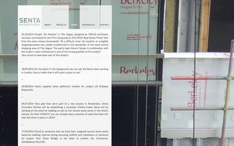 Screenshot of Press Page senta.net - NEWS - Senta International BV - captured Oct. 27, 2014