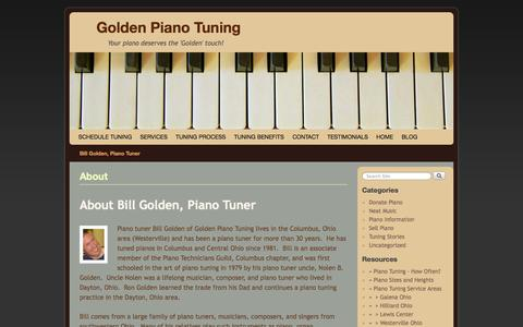 Screenshot of Blog goldenpiano.biz - About - Golden Piano Tuning - captured Oct. 2, 2014