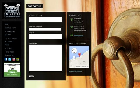 Screenshot of Contact Page paiainn.com - Contact us at the Paia Inn, on Maui's North Shore, HawaiiThe Paia Inn - captured Oct. 1, 2014