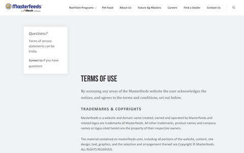 Screenshot of Terms Page masterfeeds.com - Terms of Use | Masterfeeds - captured Dec. 10, 2018