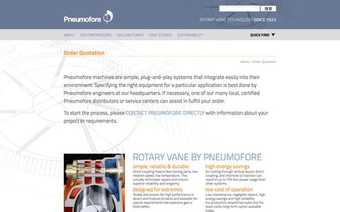 Screenshot of Pricing Page pneumofore.com - Order Quotation             —             Rotary Vane Vacuum Pumps and Air Compressors - captured March 19, 2017