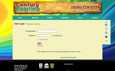 Screenshot of Login Page centurypainting.com - Century Painting - Residential and Commercial Paint Contractor - Best Painter in Prescott - captured Dec. 8, 2015