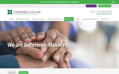 Screenshot of Team Page presbyterianseniorliving.org - Our People | About Us | Cathedral Village - captured July 16, 2018