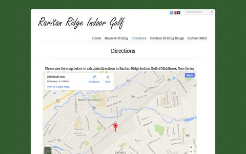 Screenshot of Maps & Directions Page rrigolf.com - Directions - New Jersey - Indoor Golf Driving Range - Golf Lessons & Swing Clinics | Raritan Ridge Indoor Golf - captured Oct. 27, 2014