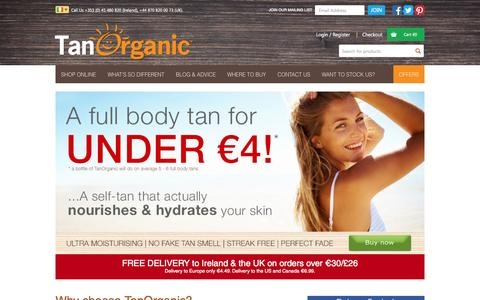 Screenshot of Home Page tanorganic.com - Fake Tan, Organic Fake Tan By Irelands Tanning Specialist - TanOrganicTanOrganic | The World's First ECO Certified Self Tanning Brand - captured Sept. 19, 2014