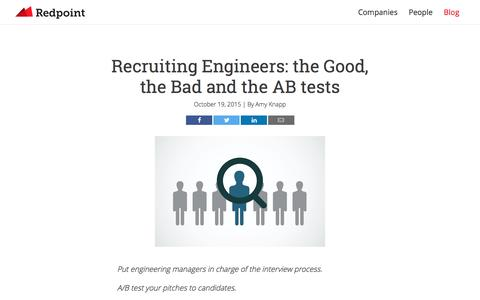 Screenshot of redpoint.com - Recruiting Engineers: the Good, the Bad and the AB tests - Redpoint Ventures - captured March 20, 2016