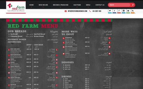 Screenshot of Menu Page redfarmsandwich.com - MENU - captured Oct. 26, 2014