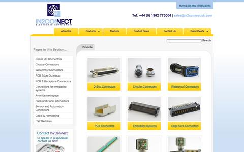 Screenshot of Products Page in2connect.uk.com - Call In2connect for cable, PCB and backplane connectors and cables - captured Oct. 2, 2014