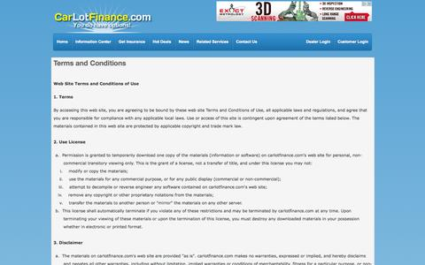 Screenshot of Terms Page carlotfinance.com - Terms and Conditions - captured Oct. 3, 2014