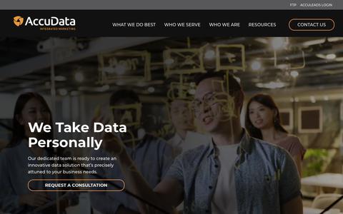 Screenshot of Home Page accudata.com - Home - AccuData Integrated Marketing - captured Sept. 9, 2019