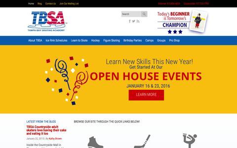 Screenshot of Home Page tbsa.com - Tampa Bay Skating Academy Home - captured Jan. 19, 2016