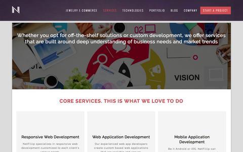 Screenshot of Services Page netfillip.com - NetFillip   Custom Development and off-the-shelf Solutions - captured Feb. 14, 2016