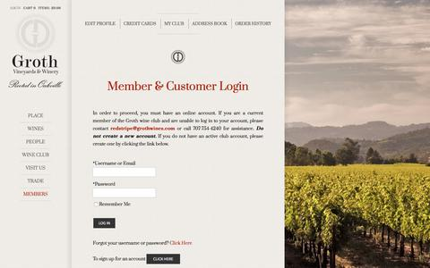 Screenshot of Login Page grothwines.com - Groth Vineyards & Winery - captured Jan. 7, 2020