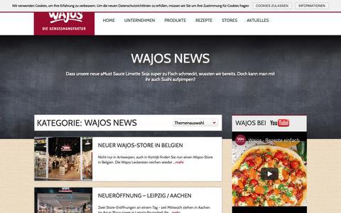 Screenshot of Blog wajos.de - Wajos News - Wajos Genussmanufaktur - captured Nov. 15, 2018