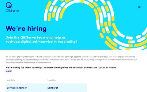 Screenshot of Jobs Page qikserve.com - Join the team - QikServe - captured Sept. 28, 2018