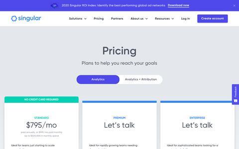 Screenshot of Pricing Page singular.net - Marketing Intelligence Platform – Singular - captured Feb. 21, 2020