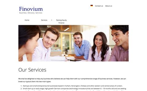 Screenshot of Services Page finovium.com - Finovum Consulting - our equity finance and business consulting services to German start-ups - captured Feb. 10, 2016