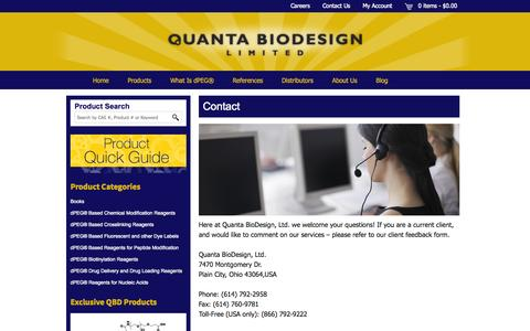 Screenshot of Contact Page quantabiodesign.com - Contact - Quanta BioDesign - captured Oct. 2, 2014