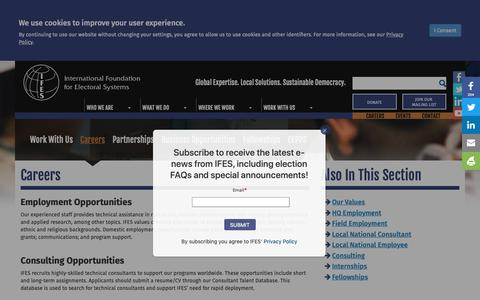 Screenshot of Jobs Page ifes.org - Careers | IFES - captured Sept. 28, 2018