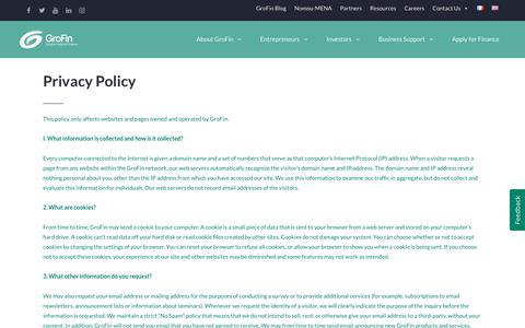 Screenshot of Privacy Page grofin.com - Privacy Policy - GroFin - captured July 25, 2018
