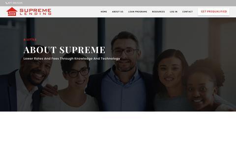 Screenshot of About Page supremelending.com - Mortgage Lender | Supreme Lending - captured June 17, 2019