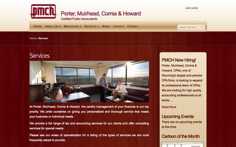 Screenshot of Services Page pmch.com - Services | Porter Muirhead Cornia & Howard, CPAs Casper - captured Oct. 2, 2014