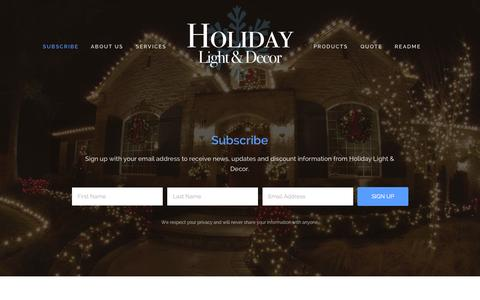 Screenshot of Home Page holidaylighthouston.com - Holiday Light & Decor - captured Jan. 23, 2015