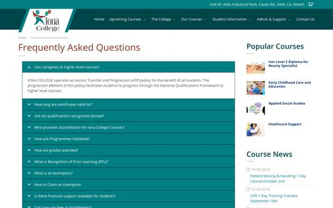 Screenshot of FAQ Page ionacollege.ie - Frequently Asked Questions | Iona College - captured Sept. 19, 2018
