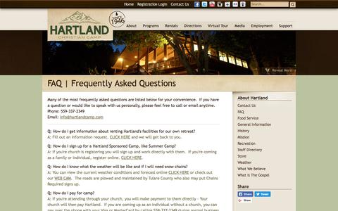 Screenshot of FAQ Page hartlandcamp.com - FAQ   Frequently Asked Questions   Hartland Christian Camp - Hartland Christian Camp - captured July 19, 2017