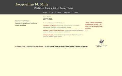 Screenshot of Services Page jmlaw.ca - Cohabitation I Marriage I Separation I Divorce I Custody I Support I jmlaw.ca - captured Nov. 26, 2016