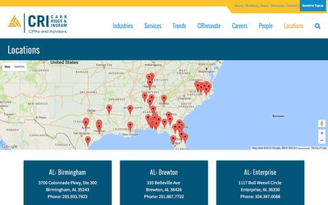 Screenshot of Locations Page cricpa.com - CRI Locations   CRI   Carr, Riggs & Ingram - captured Oct. 25, 2016