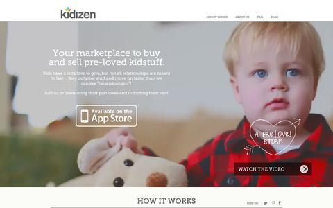 Screenshot of Home Page About Page kidizen.com - Kidizen Kid Resale Marketplace: Buy & Sell Second Hand Children's Clothing, Gear, Toys, & More - captured Sept. 16, 2014