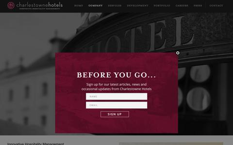 Screenshot of About Page charlestownehotels.com - Luxury Hotel Management Company | Boutique Hotel Management Companies - captured Sept. 27, 2018