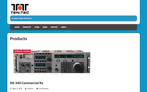 Screenshot of Products Page tentec.com - Products - captured July 6, 2017