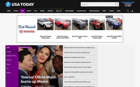 Screenshot of Team Page usatoday.com - Celebrity Photos, Videos and Interviews - USATODAY.com - captured Jan. 8, 2016