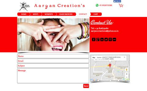 Screenshot of Contact Page aaryancreation.com - Contact Us | Locate Us for Buy Glass Pipe - captured Oct. 7, 2017