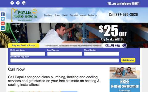Screenshot of Contact Page papaliaplumbing.com - Call Now - Papalia Plumbing & Heating - captured July 13, 2017