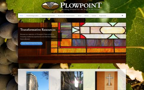 Screenshot of Home Page plowpoint.org - Welcome to Plowpoint Missions - Transforming Leaders, Transforming Churches - Plowpoint - captured Sept. 30, 2014