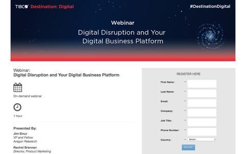 Screenshot of Landing Page tibco.com - Webinar: Digital Disruption and Your Digital Business Platform - captured July 3, 2016
