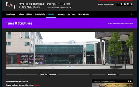Screenshot of Terms Page rai-events.co.uk - Royal Armouries Museum | NEW DOCK Hall | Conference Centre Leeds - captured Oct. 6, 2014