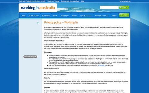 Screenshot of Privacy Page workingin-australia.com - Privacy policy - Working In | Working In Australia - captured Nov. 3, 2014