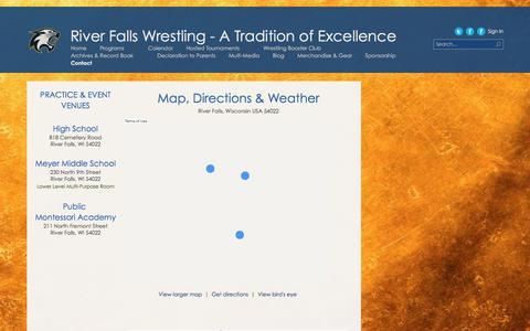 Screenshot of Maps & Directions Page riverfallswrestling.org - Directions - captured Feb. 15, 2016