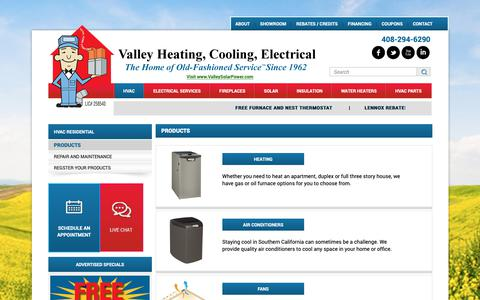 Screenshot of Products Page valleyheating.com - Products - captured Oct. 15, 2018