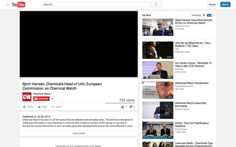 Screenshot of Testimonials Page youtube.com - Bjorn Hansen, Chemicals Head of Unit, European Commission, on Chemical Watch - YouTube - captured Aug. 25, 2016